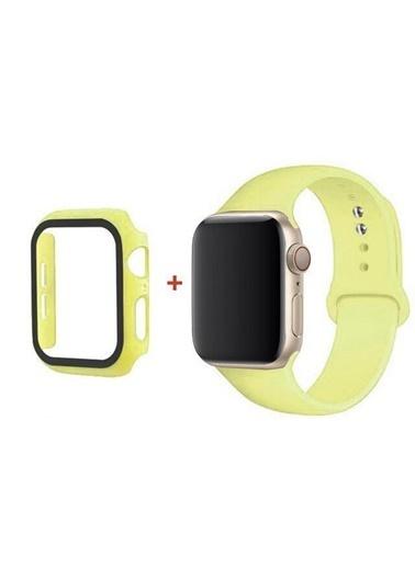 Cimricik Apple Watch Kordon 44 mm 2 3 4 5 6 SE Seri Uyumlu Silikon Kordon + Camlı Kasa Koruyucu Sarı